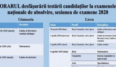 Ministerul Educației a aprobat orarul desfășurării testării candidaților la examenele naționale de absolvire, sesiunea 2020