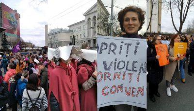 Amplă manifestație la Chișinău de 8 Martie, dedicată drepturilor femeilor și luptei împotriva violenței. Foto/video