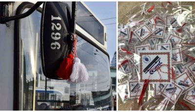 Chișinăuienii care au călătorit astăzi cu troleibuzul au primit în dar Mărțișoare