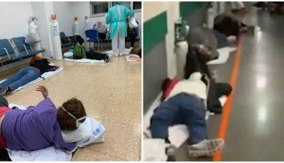 (Video) Situație tragică într-un spital din Madrid: Pacienții cu coronavirus lăsați pe jos, pe holuri, pentru ca nu sunt paturi