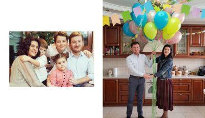 Întâmplare fericită în familia Oxanei Munteanu. În fiecare an, cuplul îi sărbătorește pe cei trei copii născuți în aceeași zi!