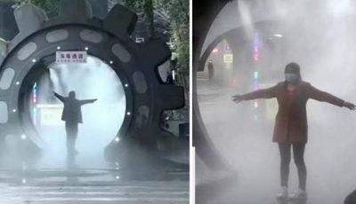 China, la nivel superior. Au montat tuneluri de dezinfectare împotriva Covid-19 pe străzi