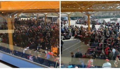 Sute de români s-au înghesuit pe Aeroportul din Cluj, ca să plece la muncă sezonieră în Germania