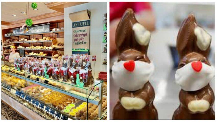 Iepuraşi de Paşte din ciocolată echipaţi cu mănuşi şi măşti pe faţă, au apărut în vânzare