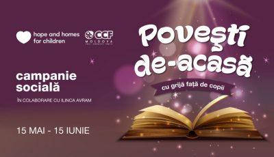 """În cadrul campaniei ,,Povești de-acasă"""", poți ajuta copiii vulnerabili din țara noastră, afectați de pandemie!"""