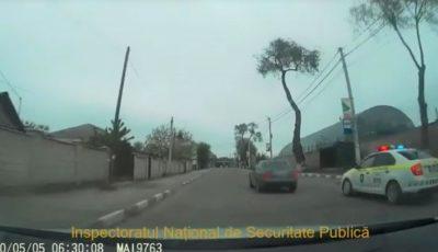 Video! Un șofer din Fălești, în stare de ebrietate la volan, a tamponat două mașini de poliție