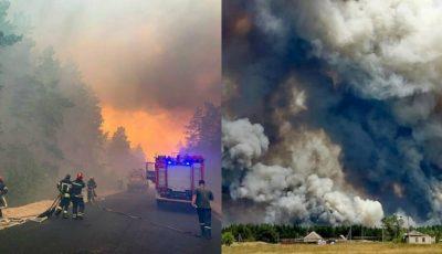 Cinci mii de hectare de pădure ard în Ucraina. 5 oameni au murit, 24 de case au ars complet