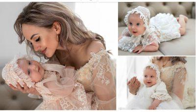 Foto! Fiica Kătălinei Rusu a făcut deliciul publicului în ținute de botez, create de designerul Diana Voevuțki
