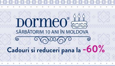 Sărbătorim 10 ani Dormeo în Moldova cu Oferte speciale la produsele de TOP!