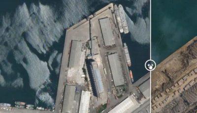 Imagini din satelit. Craterul imens apărut în urma exploziei de la Beirut