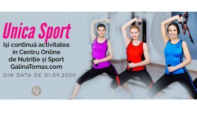UNICA Sport își continuă activitatea în Centrul Online de Nutriție și Sport galinatomas.com din data de 01.09.2020