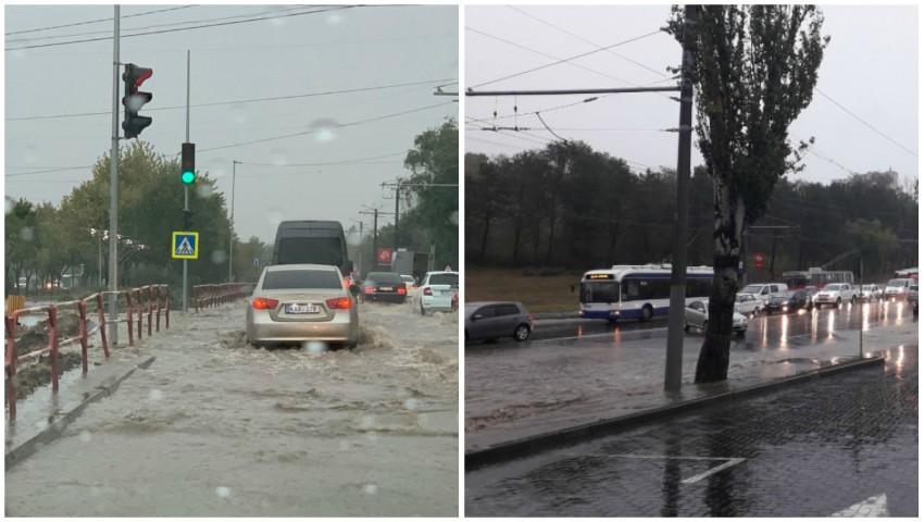 Ploaie puternică în Chișinău: străzi inundate. Rute de troleibuze sistate