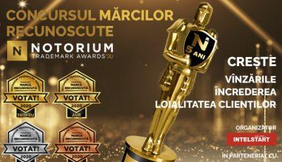 Creșteți vânzările, încrederea și loialitatea clienților – participați la concursul mărcilor recunoscute Notorium Trademark Awards