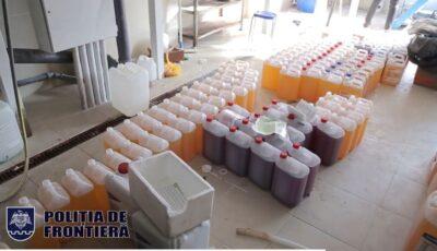 Percheziții la un laborator clandestin din Capitală, care producea dezinfectanți periculoși