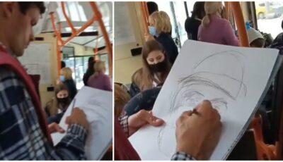 Călătorie cu surprize! Un taxator din Capitală schițează portrete pentru călătorii aflați în trafic