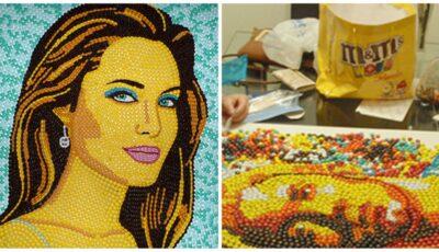 Un tânăr face portrete din bomboane colorate. Uite cum arată Angelina Jolie și Justin Bieber