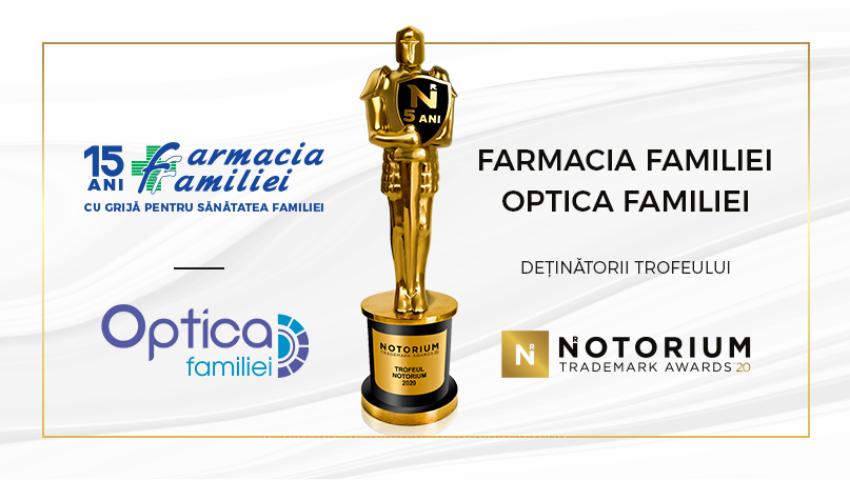 Farmacia Familiei, câștigătoare a trofeului Notorium Trademark Awards