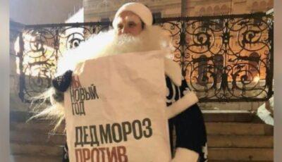 Moș Gerilă a fost arestat la Moscova pentru că protesta împotriva anulării festivităților de iarnă