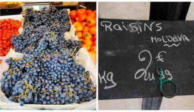 Un moldovean, impresionat de gustul strugurilor din Moldova vânduți într-un magazin din Paris