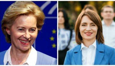 """Ursula von der Leyen, mesaj de felicitare pentru Maia Sandu: ,,Uniunea Europeană este gata să susțină Moldova"""""""
