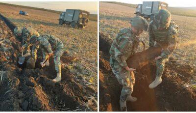 O bombă de 50 de kg din al Doilea Război Mondial, găsită pe un câmp din țară