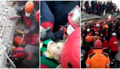 O fetiță de 3 ani, scoasă vie de sub dărâmături după 65 de ore de la cutremurul care a zguduit Turcia