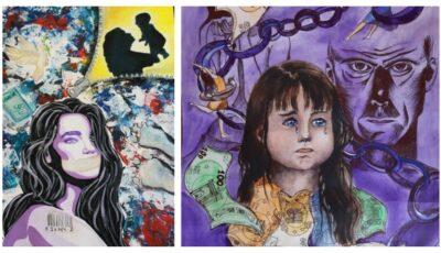 """Concursul de artă """"Tinerii împotriva traficului de ființe umane"""", câștigat de trei tinere. Iată lucrările care au fost premiate!"""