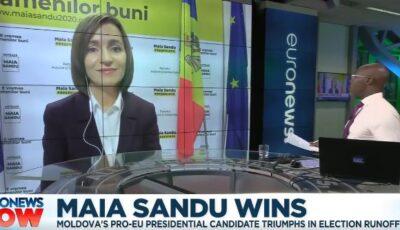 Video! Președintele ales Maia Sandu, primul interviu în limba engleză oferit pentru Euronews