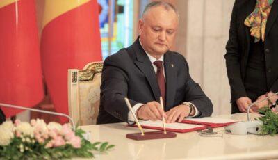 Igor Dodon: Voi promulga toate legile votate de Parlament până la plecarea mea din funcție