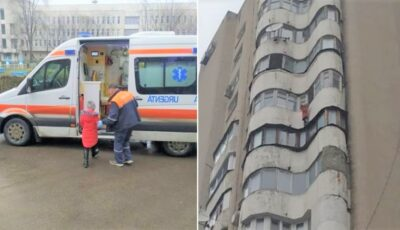 Unde erau părinții fetiței de 8 ani, care risca să cadă în orice moment de la etajul 12