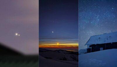 Imagini spectaculoase! Cum s-a văzut marea apropiere Saturn-Jupiter pe cerul înstelat