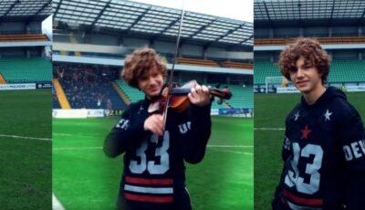 Cătălin Advahov impresionează din nou! Tânărul violonist a interpretat imnul Ligii Campionilor pe stadionul Zimbru