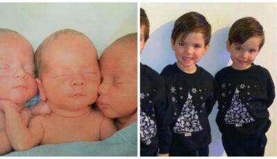 Cum arată astăzi tripleții identici unici născuți în 2015 și cum îi deosebește mama lor