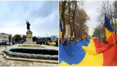 Video! Un tricolor imens de 102 metri, purtat la Chișinău cu ocazia Zilei Naționale a României!