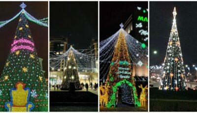 Foto! Cum arată cei mai spectaculoși pomi de Crăciun din Capitală