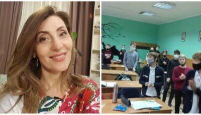 """E profesoară de muzică la un liceu sportiv din Capitală. Elevii o adoră și i-au cântat astăzi ,,La mulți ani""""!"""