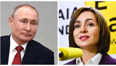 Vladimir Putin a felicitat-o pe Maia Sandu cu ocazia Sărbătorilor de iarnă