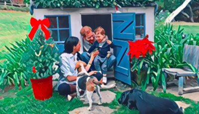 Harry, Meghan, Archie și patrupezii lor pe o felicitare de Crăciun dedicată bunăstării animalelor
