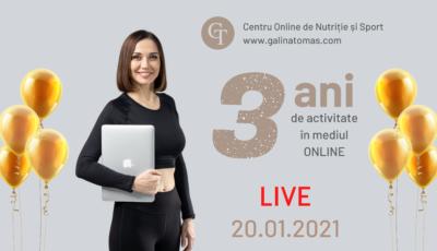 Trei ani de sănătate și perseverență în mediul online! La mulți ani, Centru Online de Nutriție și Sport www.galinatomas.com