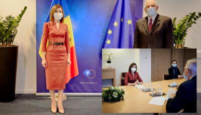 Președintele Maia Sandu, discuții în limba engleză, fără traducător, cu Vicepreședintele Comisiei Europene Josep Borrell. Ce au discutat cei doi oficiali?