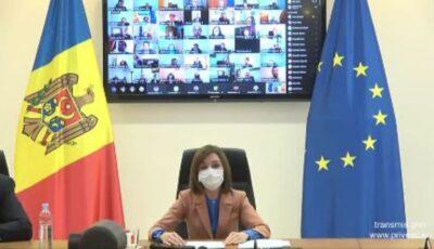 Maia Sandu a participat astăzi la întrunirea online cu peste 250 de diplomați ai Republicii Moldova