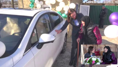 La 95 de ani, o bunică din Găgăuzia a primit în dar o mașină electrică