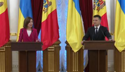Kiev: Maia Sandu și-a început discursul în limba ucraineană. Președintele Zelenski, copleșit