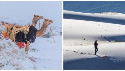 Imagini spectaculoase! A nins în deșertul Sahara, cel mai mare deșert uscat de pe Terra