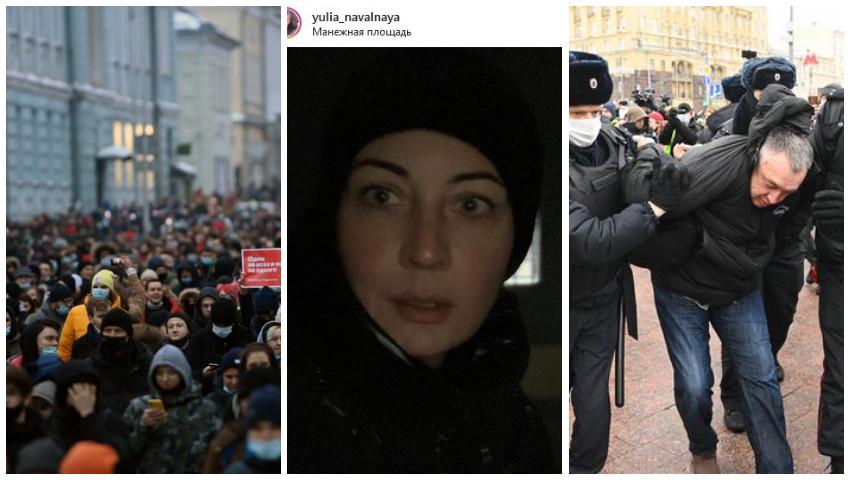 Foto: Rusia: Proteste masive în toată țara față de arestarea lui Aleksei Navalnîi. Peste 2.300 de persoane ar fi reținute, 40 de polițiști răniți