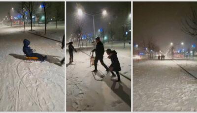 Ninge în Capitală! Copiii din Chișinău au ieșit la săniuș