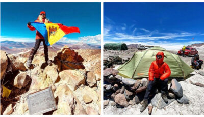 Foto! Moldoveanca Olga Țapordei a arborat tricolorul pe cel mai înalt vulcan activ din lume!
