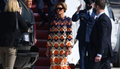 Melania Trump l-a lăsat pe soțul ei, Donald Trump, să pozeze singur în fața fotografilor la sosirea în Florida