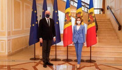 Președintele Consiliului European, aflat în premieră într-o vizită la Chișinău. Rezultatele întrevederii cu președintele Maia Sandu