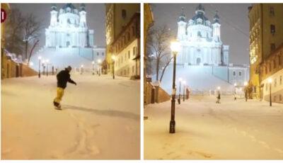 Video! Imagini spectaculoase. O celebră stradă din Kiev, transformată în pârtie de snowboard